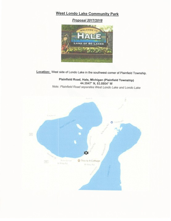 Hale Michigan Lakes Londo Lake Association Plainfield Park